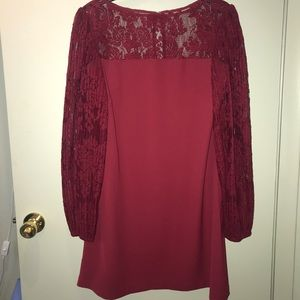 WHBM Red with Red Lace Puffy sleeves Sz 12